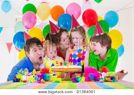 Family Celebrating Birthday Party