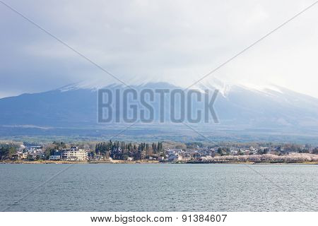 Mt Fuji view and the lake japan.
