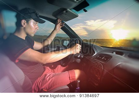 Man Sitting In The Car