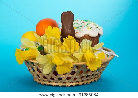 Easter cake and flowers