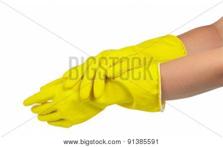 Hands in the gloves