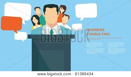 Business team presentation concept, team work success concept