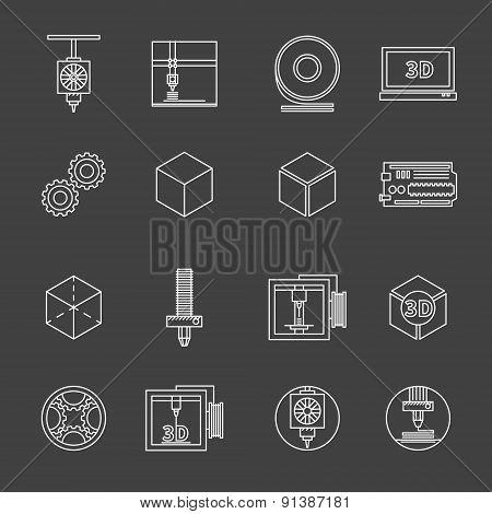 3D printer vector icons