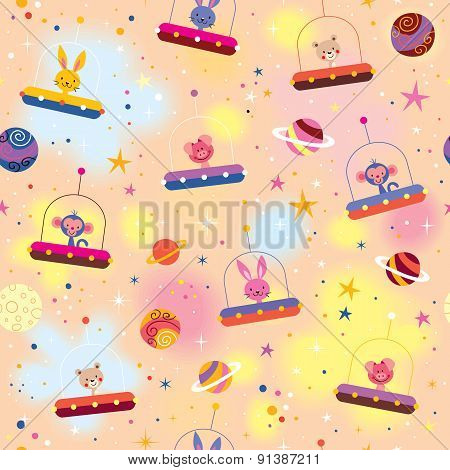 cute animals in space ships kids pattern