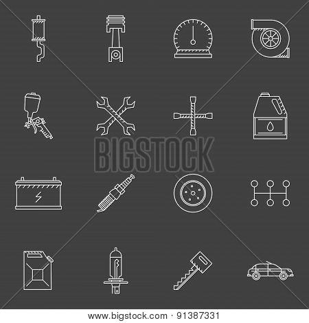 Auto service or repair icons set