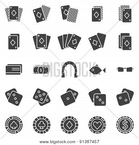 Poker icons vector set