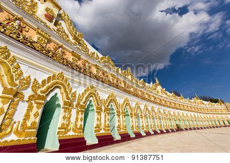 Facade of the U-Min Thonze (thirty caves) pagoda in Sagaing hills, Myanmar (Burma)