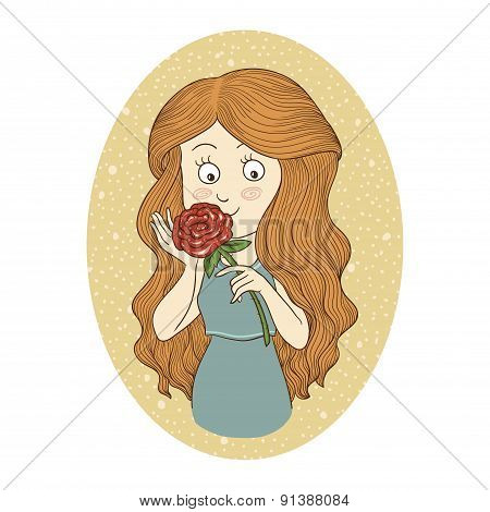 Color vector illustration: Young girl with flower