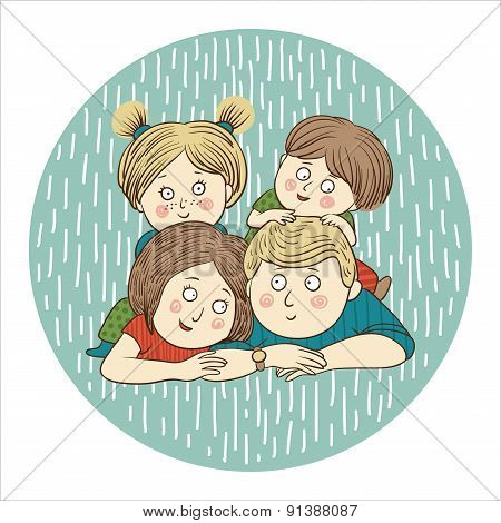 Color vector illustration: Happy family with kids