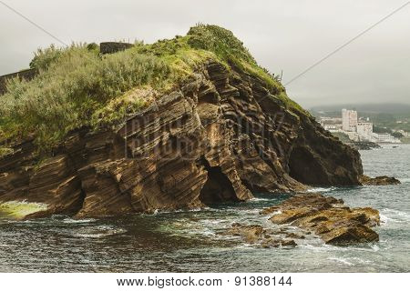 Close View Of The Rock Formation In Ponta Delgada, Azores