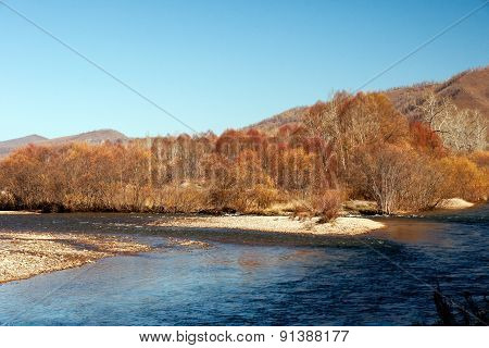 river in the autumn in Inner Mongolia of China