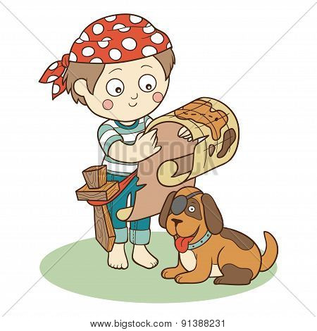 Vector illustration: boy and dog playing pirates