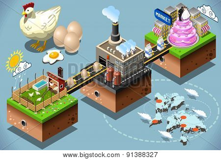 Isometric Infographic Egg Products Distribution Chain