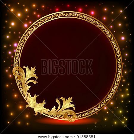 background illustration frame with gold pattern and stars