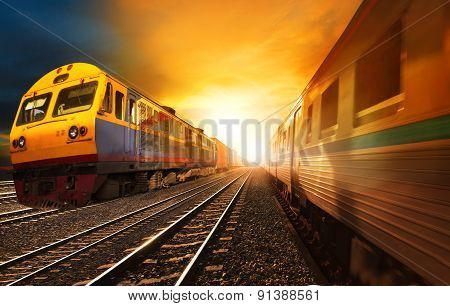Passenger Trains And Industry Container  Railroads Running On Railways Track Against Beautiful Sun S