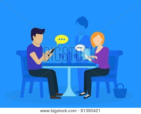 Young couple sitting in the restaurant
