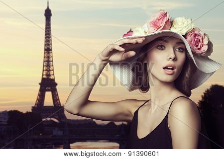 Girl With Spring Hat In Paris