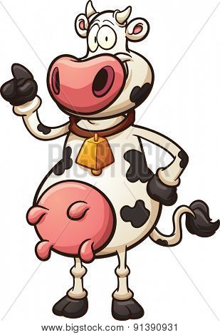 Cartoon cow. Vector clip art illustration with simple gradients. All in a single layer.