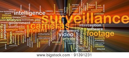 Background concept wordcloud illustration of surveillance glowing light