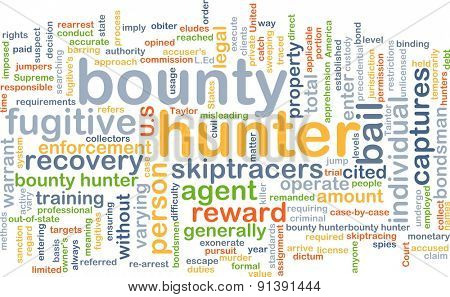 Background concept wordcloud illustration of bounty hunter