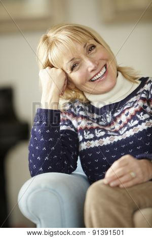 Portrait senior woman relaxing at home