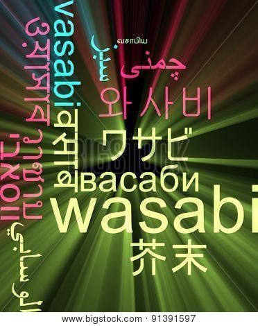Background concept wordcloud multilanguage international many language illustration of wasabi glowing light