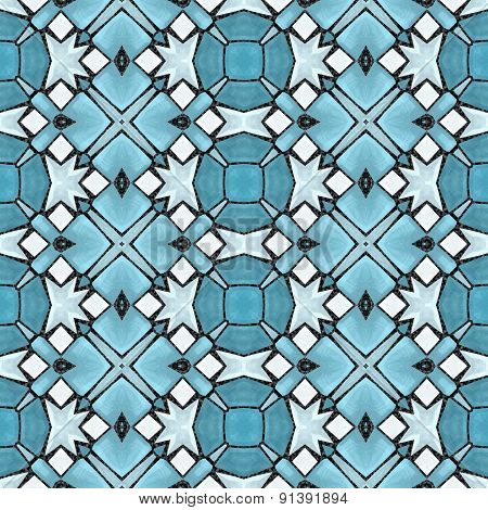 Seamless Kaleidoscope Mosaic In Blue