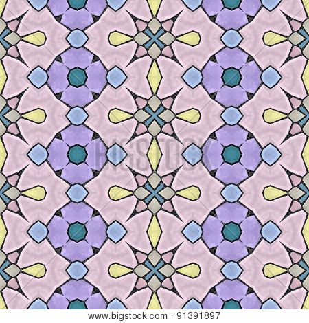 Seamless Kaleidoscope Mosaic In Violet