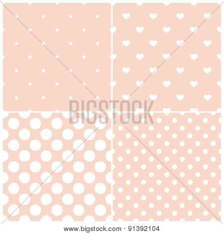 Pink tile vector pattern set with white polka dots and hearts on pastel background