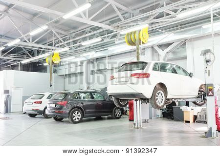 Moscow, Russia, May, 8, 2015: Cars in a dealer repair station in Moscow, Russia