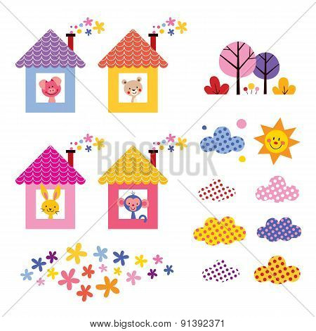 cute animals in houses kids design elements set