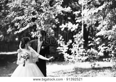 Wedding Couple At The Forest