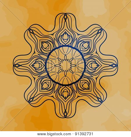 Outlined mandala over henna colored old paper