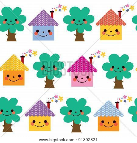 houses and trees kids pattern