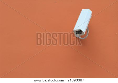 Surveillance Camera On The Wall, Horizontal