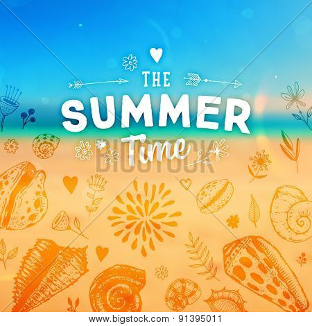 Set of Summer Elements: Blurred Beach Landscape, Seashells, Flowers, Anchor, Starfish, Sky with Sun. Hand Drawn Style. Typographic Design for Logo or Label. Summer Holidays.