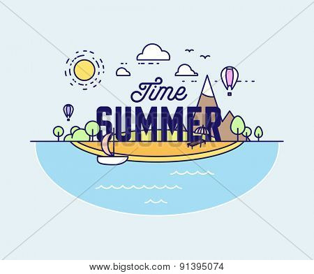 Thin Line Style Vector Summer Illustration with Ocean, Island, Sun, Clouds, Palms and Beach. Minimalistic Design.
