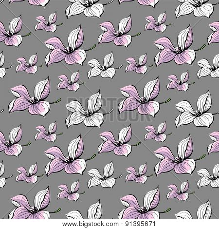 Seamless floral illustration. Few flowers on gray