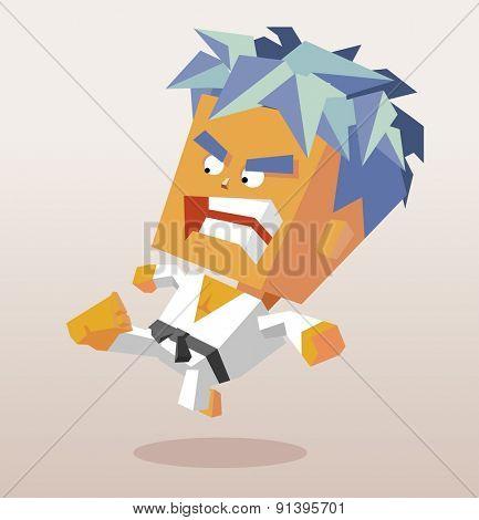 karate kick with black belt.vector illustration
