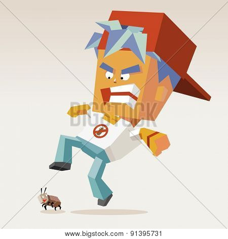 pest control catcher.vector illustration