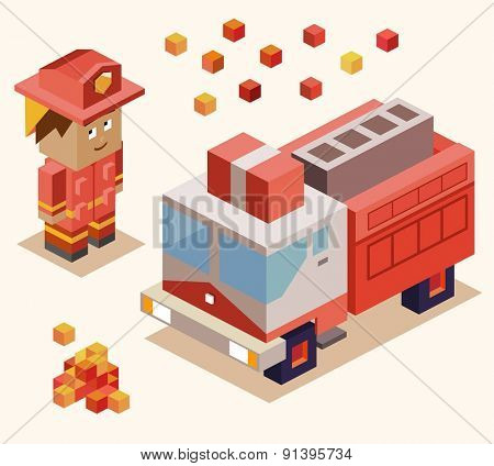 fire fighter rescue. vector illustration