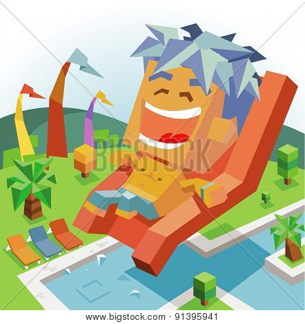 tropical slide waterpark. vector illustration