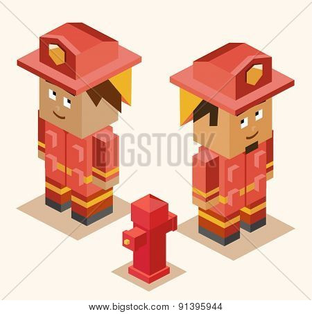 fire fighter heroes. vector illustration