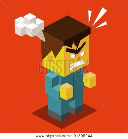 Angry people with red face. vector illustration