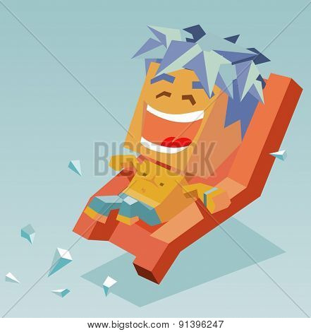 boy on water slide.vector illustration