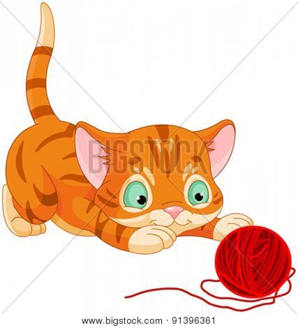 Illustration of cute kitten playing with wool