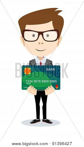 Man holding a bank card - vector illustration