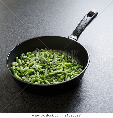 Cuted Green French Bean On The Pan