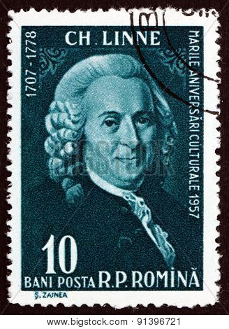 Postage Stamp Romania 1958 Carl Linnaeus