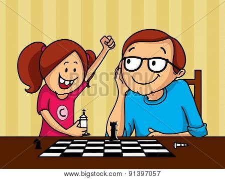 Happy father and daughter playing chess together on occasion of Father's Day celebration.